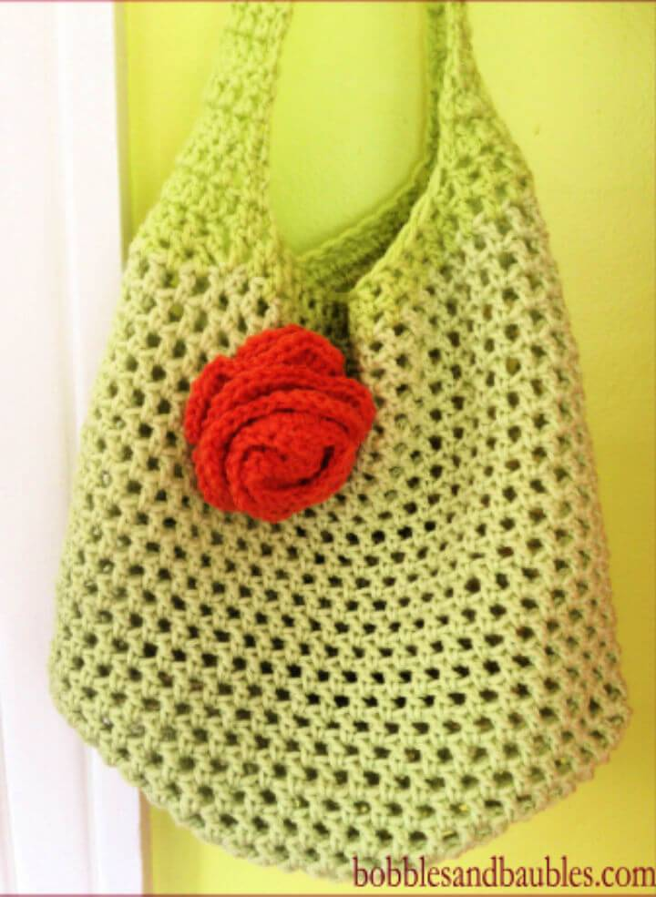 Awesome Crochet Market Bag Floral Accent Free Pattern