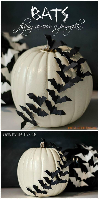 Bats Flying Across a Pumpkin