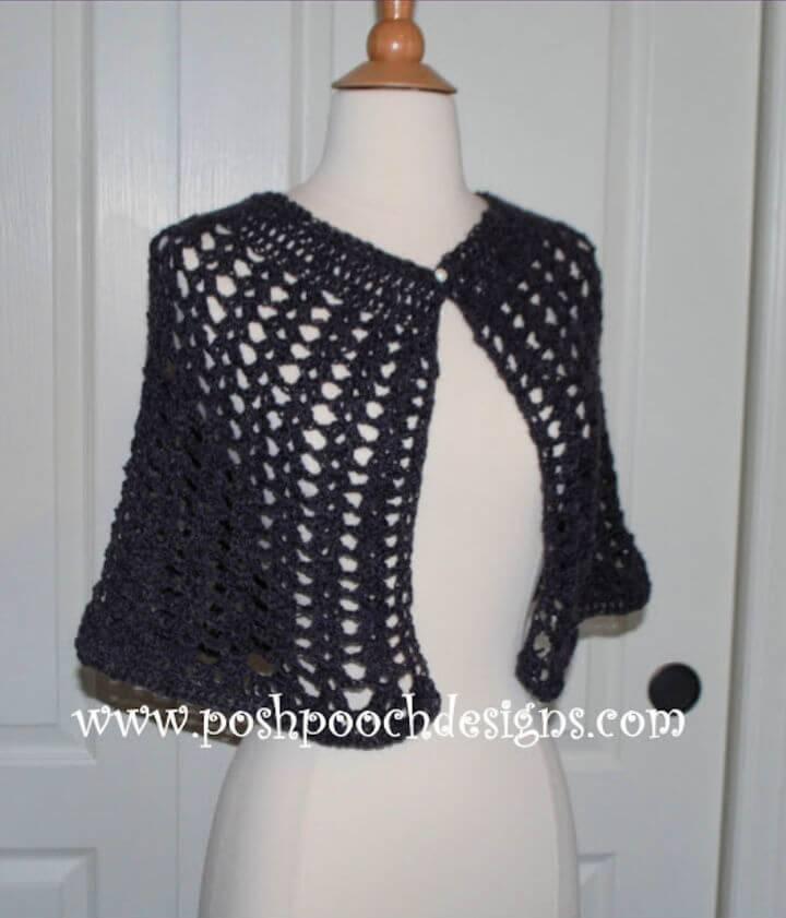 Beautiful Crochet Lace Cape Shawl Free Pattern