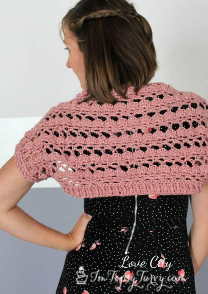Beautiful Crochet Lacy Shell Stitch Shrug Free Pattern