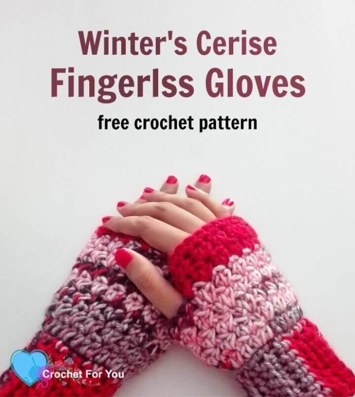 Beautiful Crochet Winter's Cerise Fingerless Gloves Free Pattern
