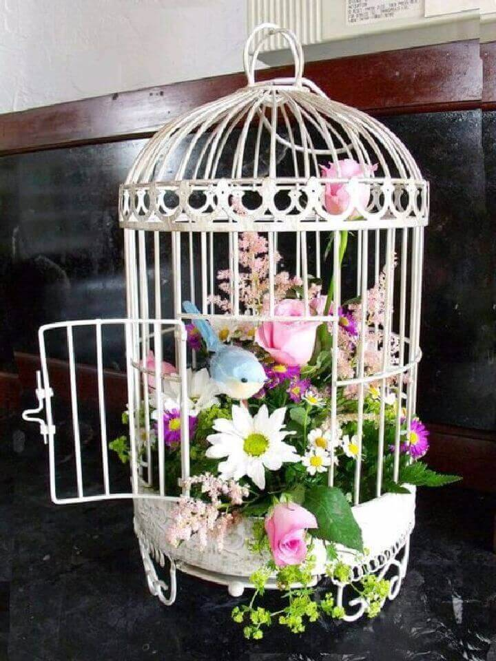 Bird Cage Floral Decor