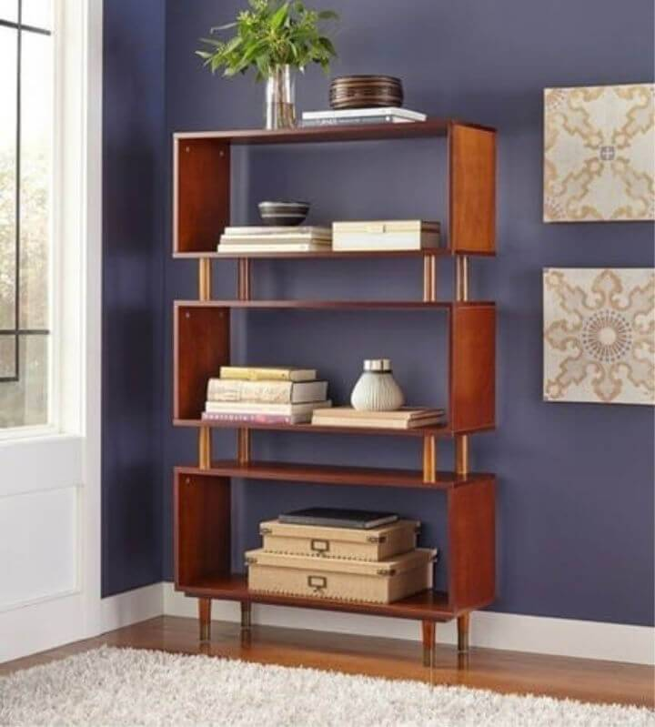 Brown Mid Century Modern Bookshelve