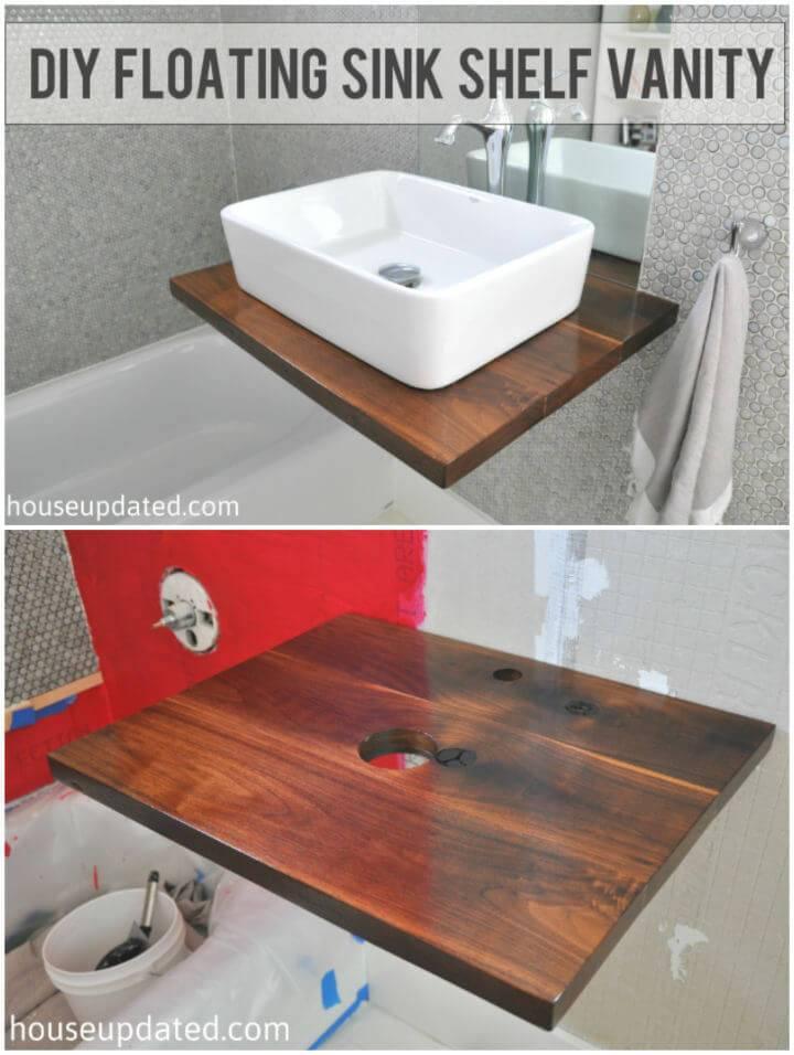Build Walnut Floating Shelf Sink Vanity