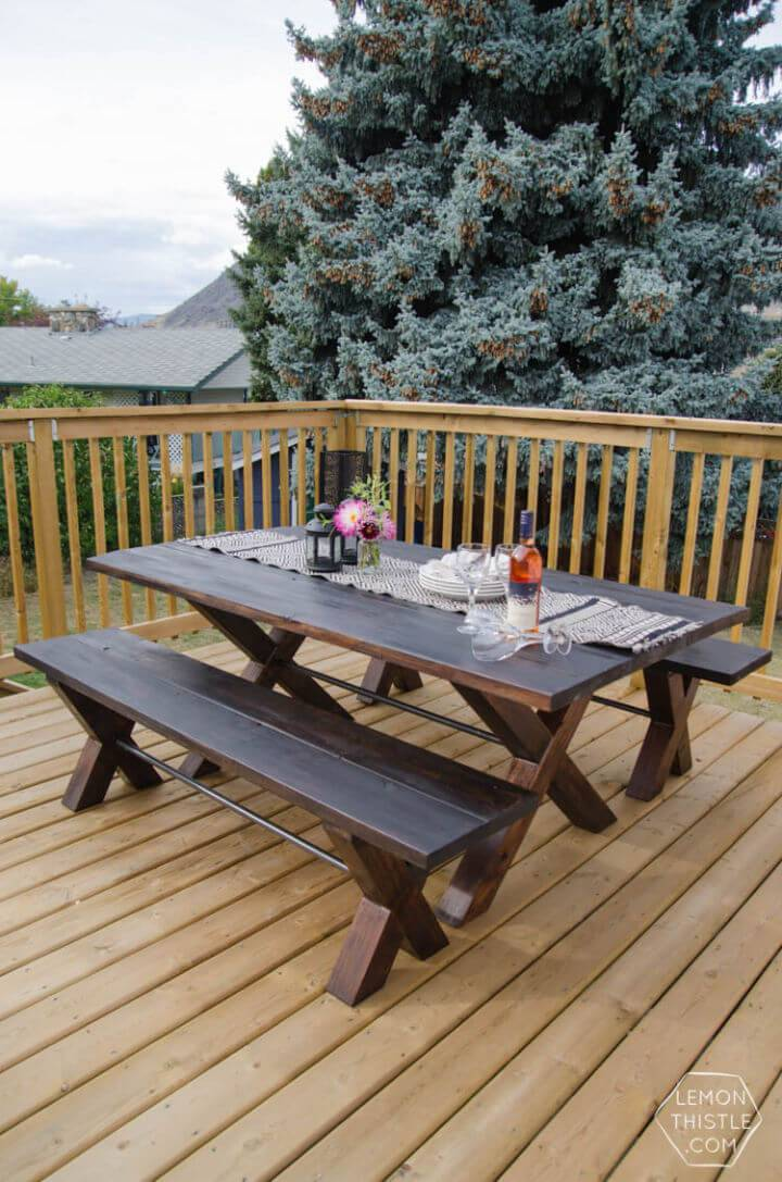 Build a X Leg Patio Table with Pipe Trestle