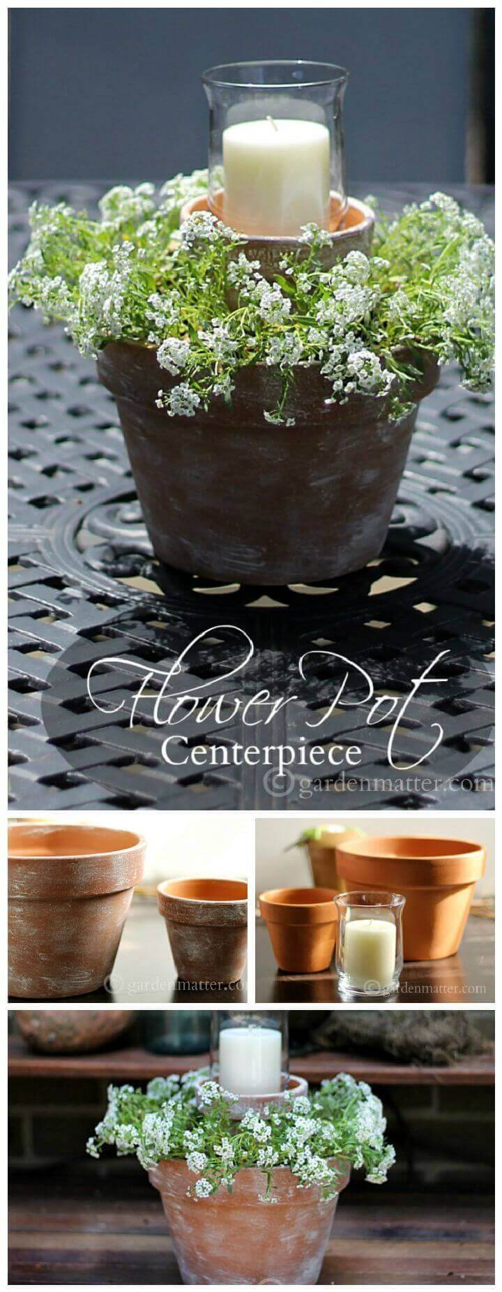 Candle And Flower Pot Centerpiece For Your Porch