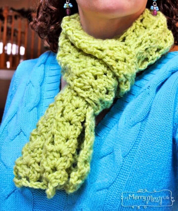 Cluster V stitch Scarf Free Crochet Pattern