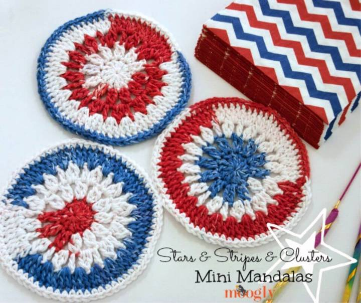 Clusters Mini Mandala Free Crochet Pattern