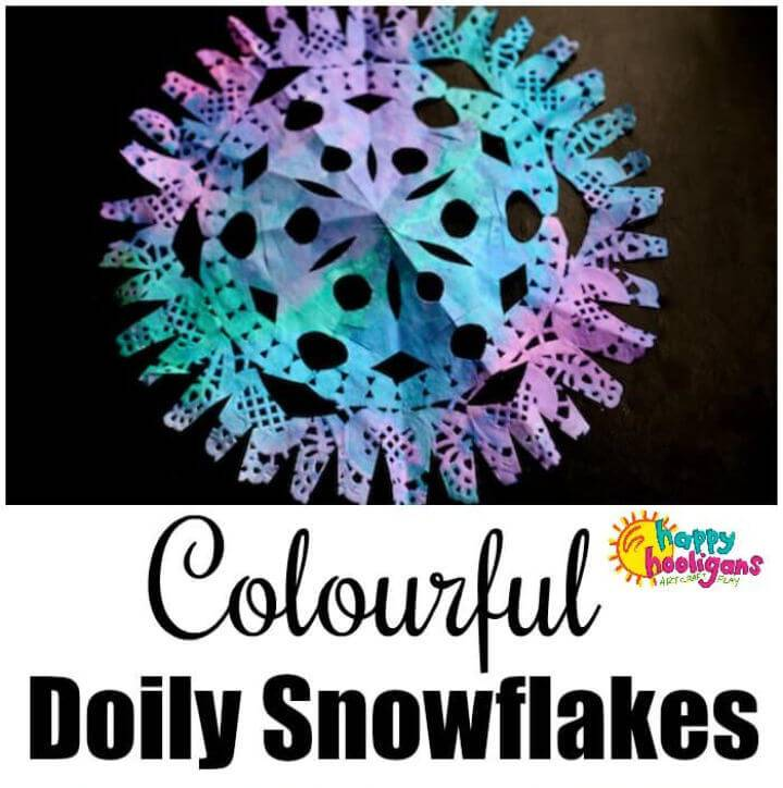 Colorful DIY Paper Doily Snowflakes