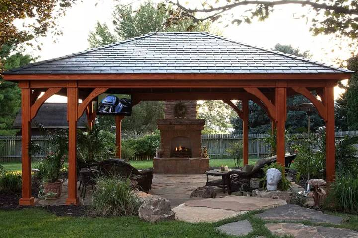 Covered Patio with Faux Slate Roof