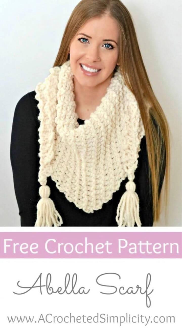 Crochet Abella Triangular Scarf Free Pattern