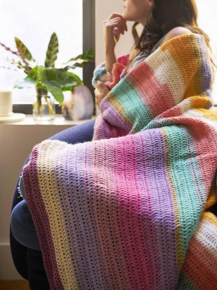 Crochet Beginners Delight Afghan Using Lion Brand Mandala Yarn