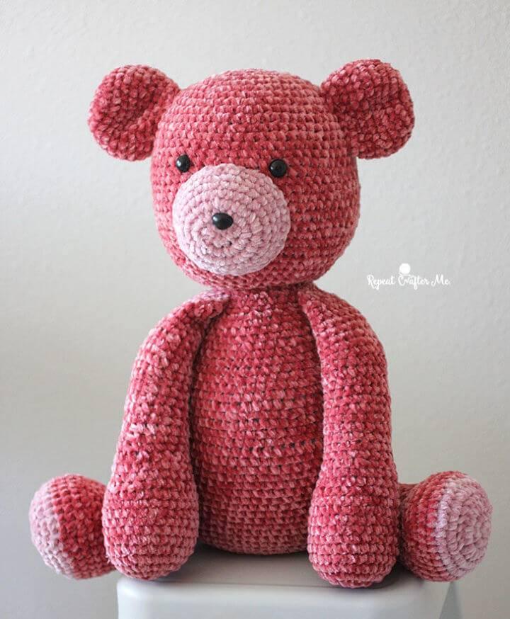 Crochet Big Bernat Velvet Bear Free Pattern