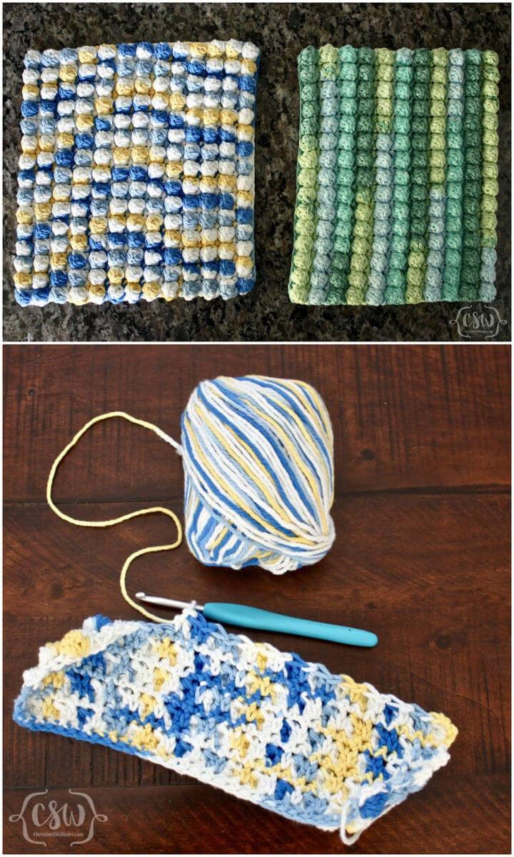Crochet Bobble Stitch Hot Pad Free Pattern