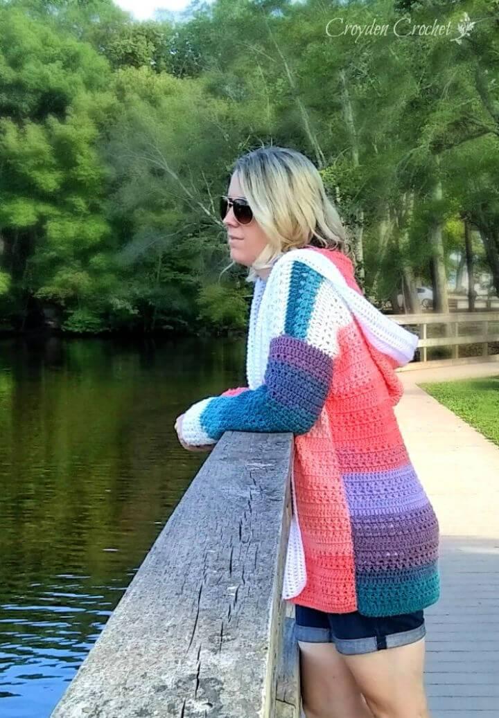 Crochet Colorblock Cardigan Using Lion Brand Mandala Yarn