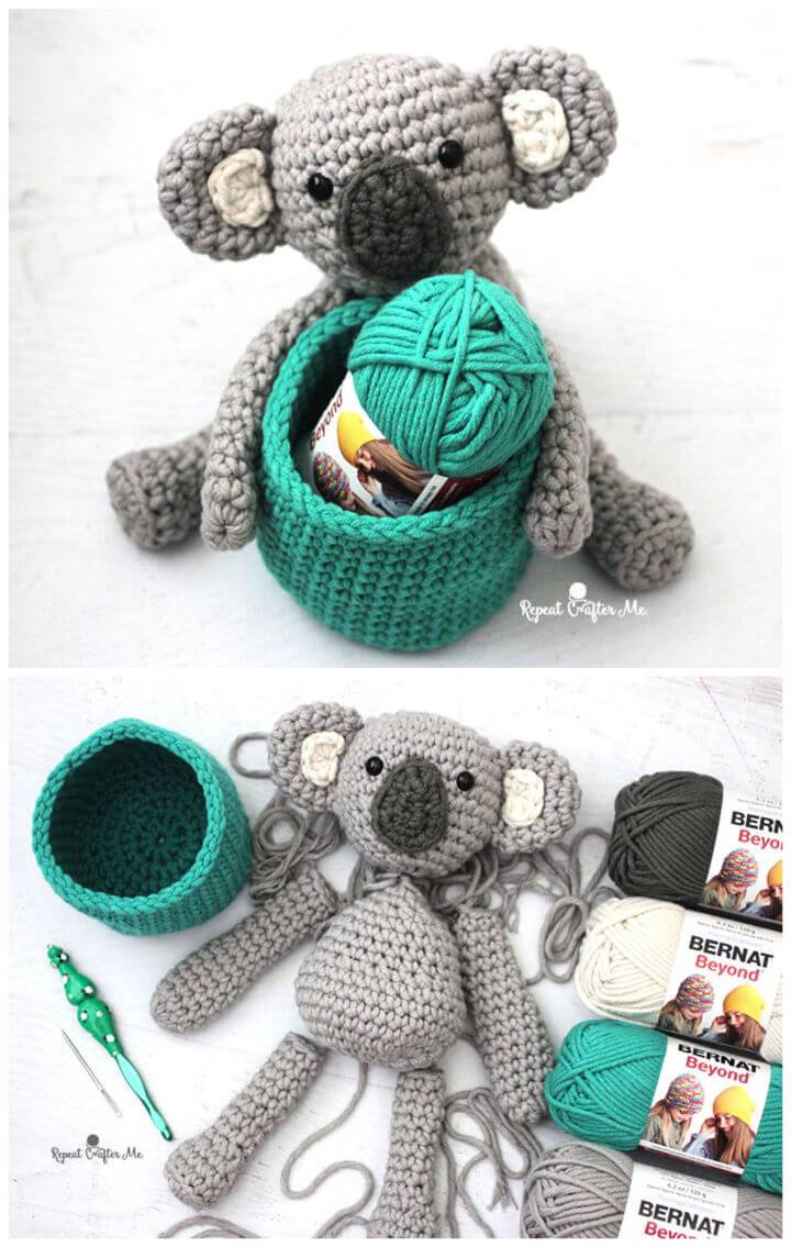 Crochet Koala Bear Basket With Bernat Beyond 1
