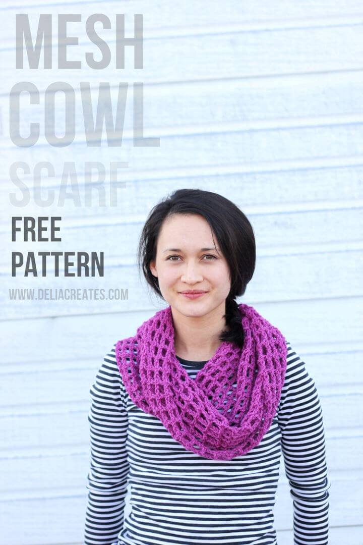 Crochet Mesh Cowl Scarf – Free Pattern