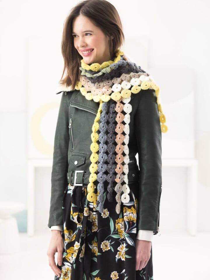 Crochet Motif Scarf Free Pattern