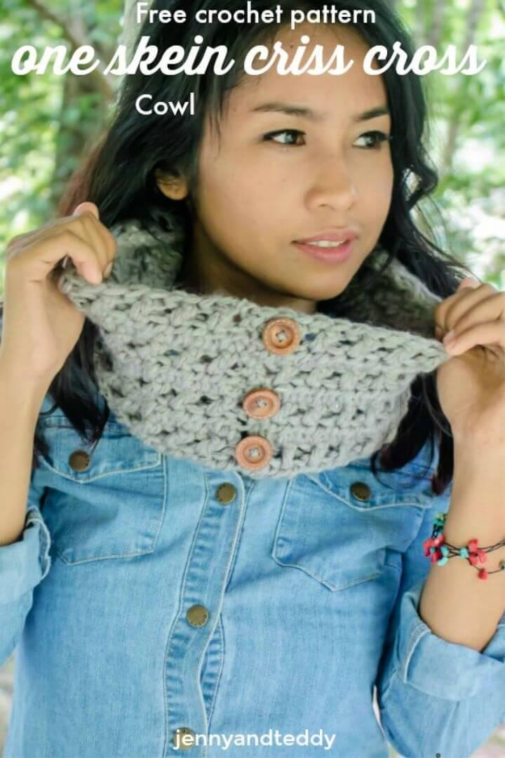 Crochet One Skein Criss Cross Cowl Pattern