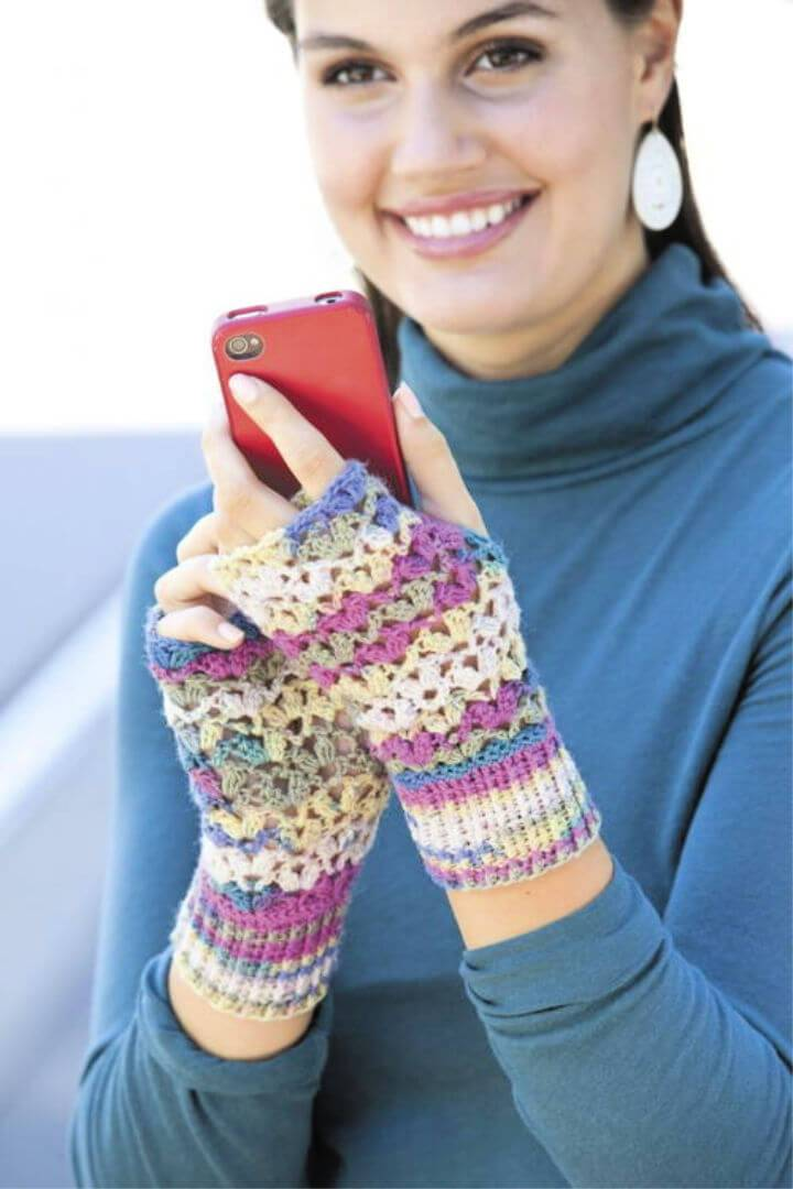 Crochet One Skein Lace Mitts Free Pattern
