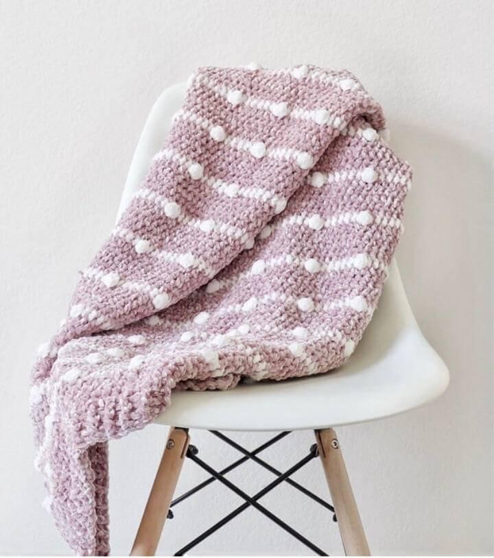 Crochet Velvet Dotted Lines Blanket Free Pattern