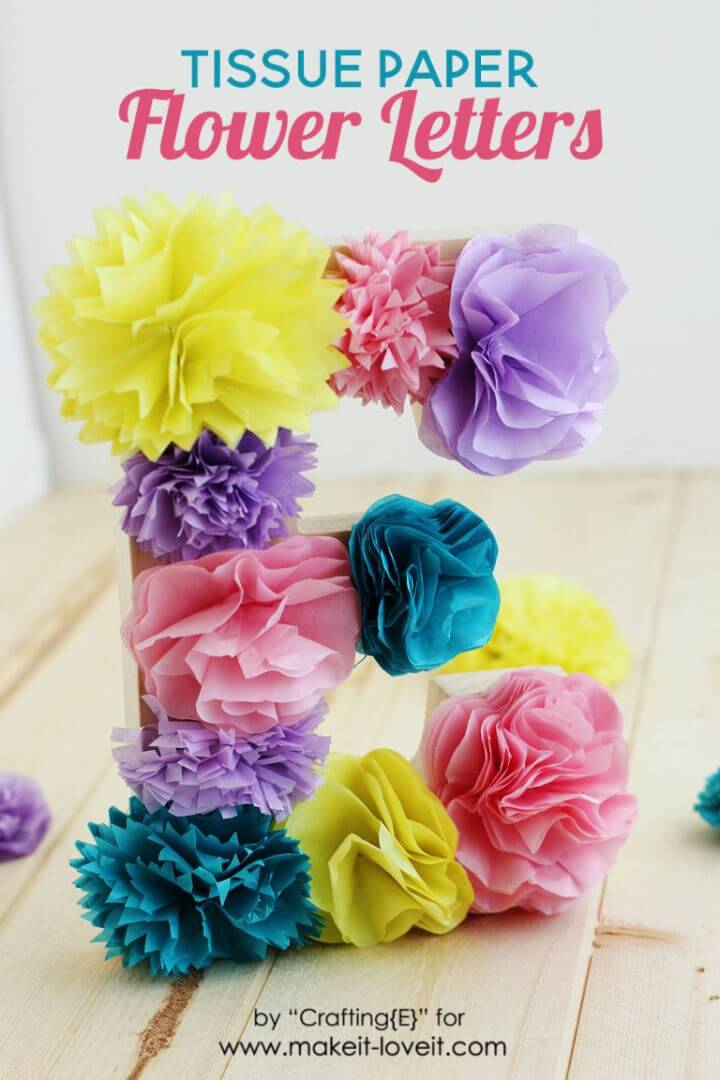 Cute DIY Tissue Paper Flower Letters