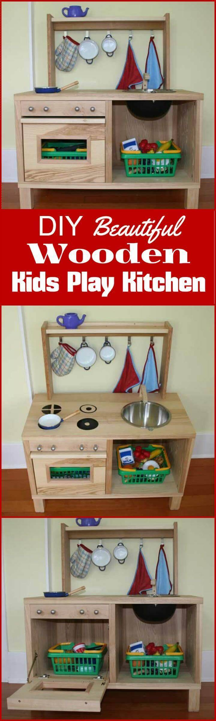 homemade wooden kids play kitchen