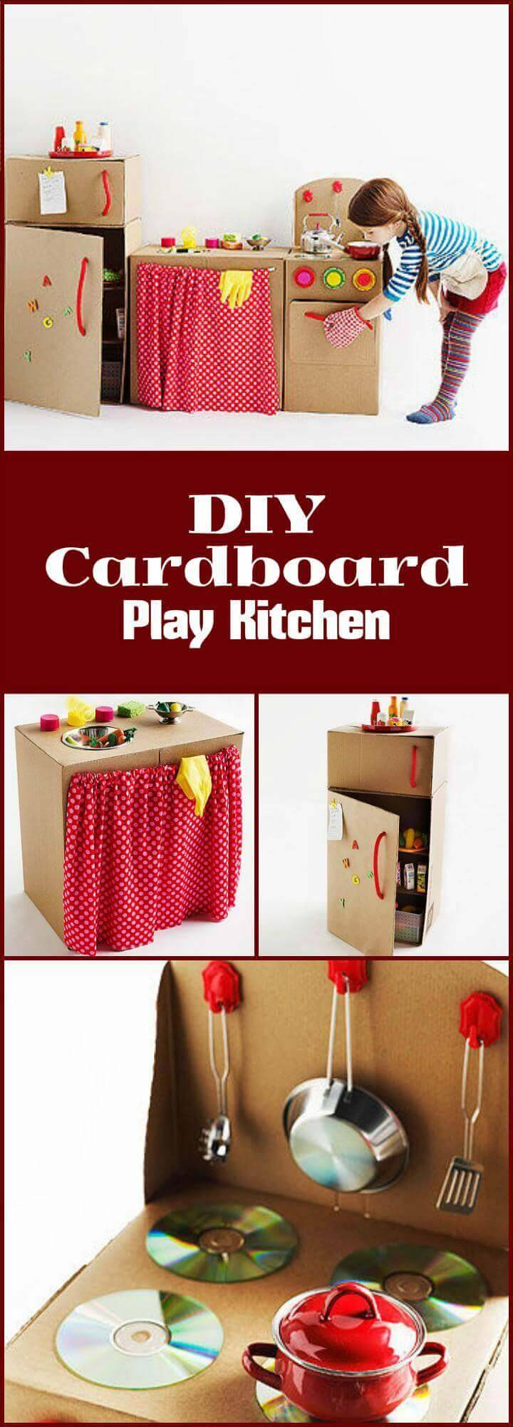 DIY beautiful cardboard play kitchen