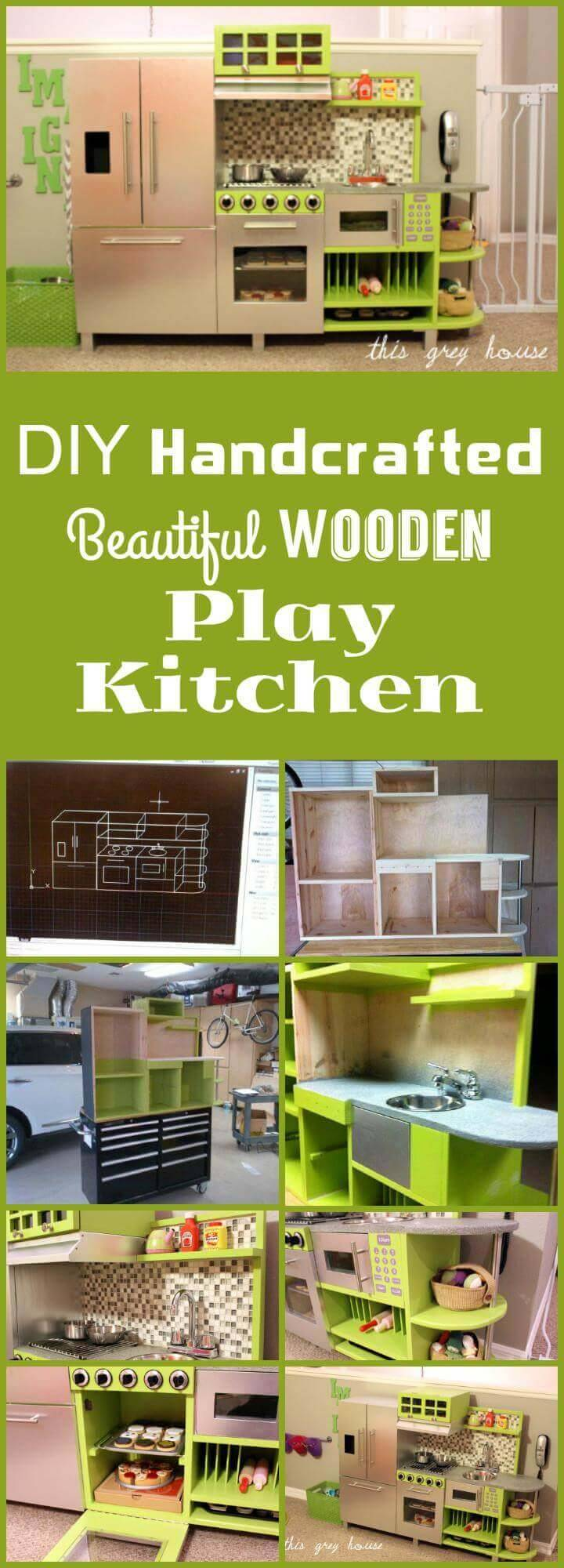 handmade beautiful wooden play kitchen