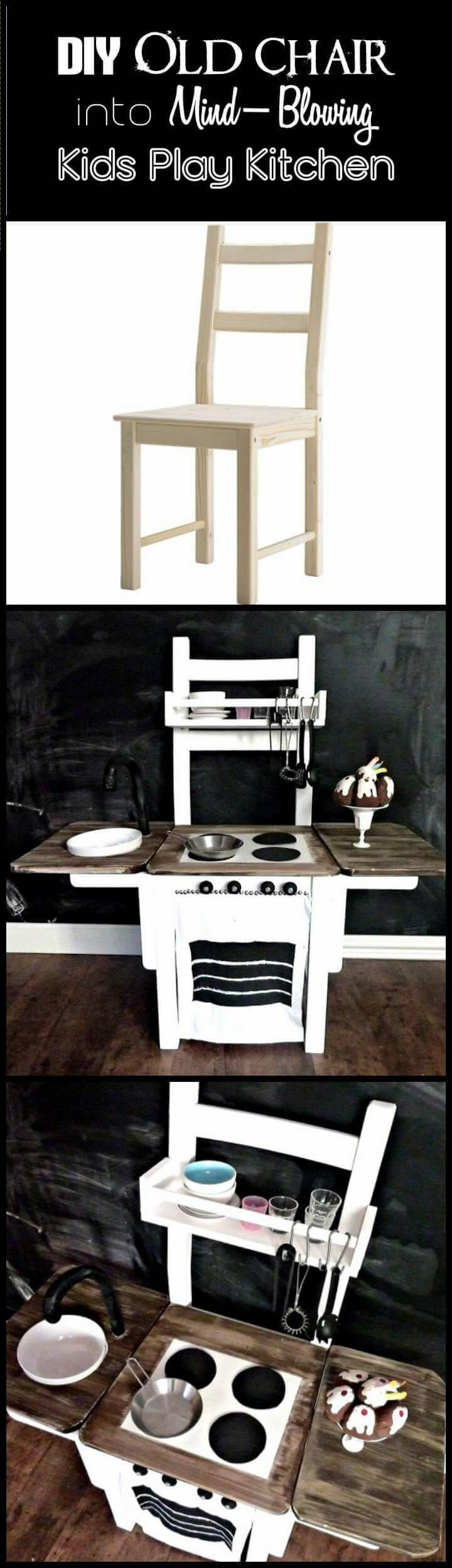 repurposed old chair into mind-blowing kids play kitchen