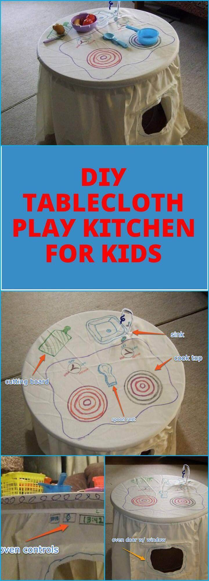 DIY easy tablecloth play kitchen