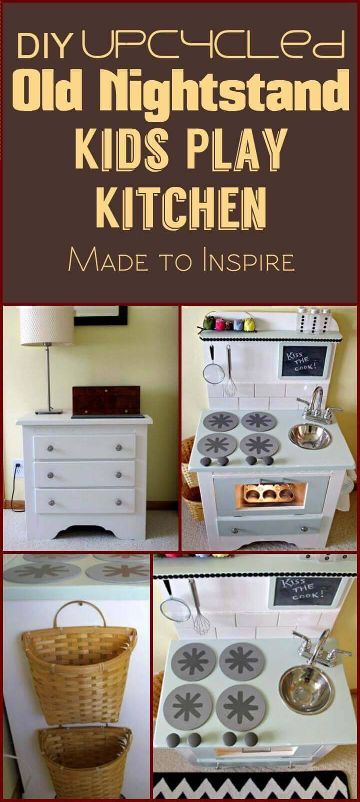 Repurposed old nightstand kids play kitchen