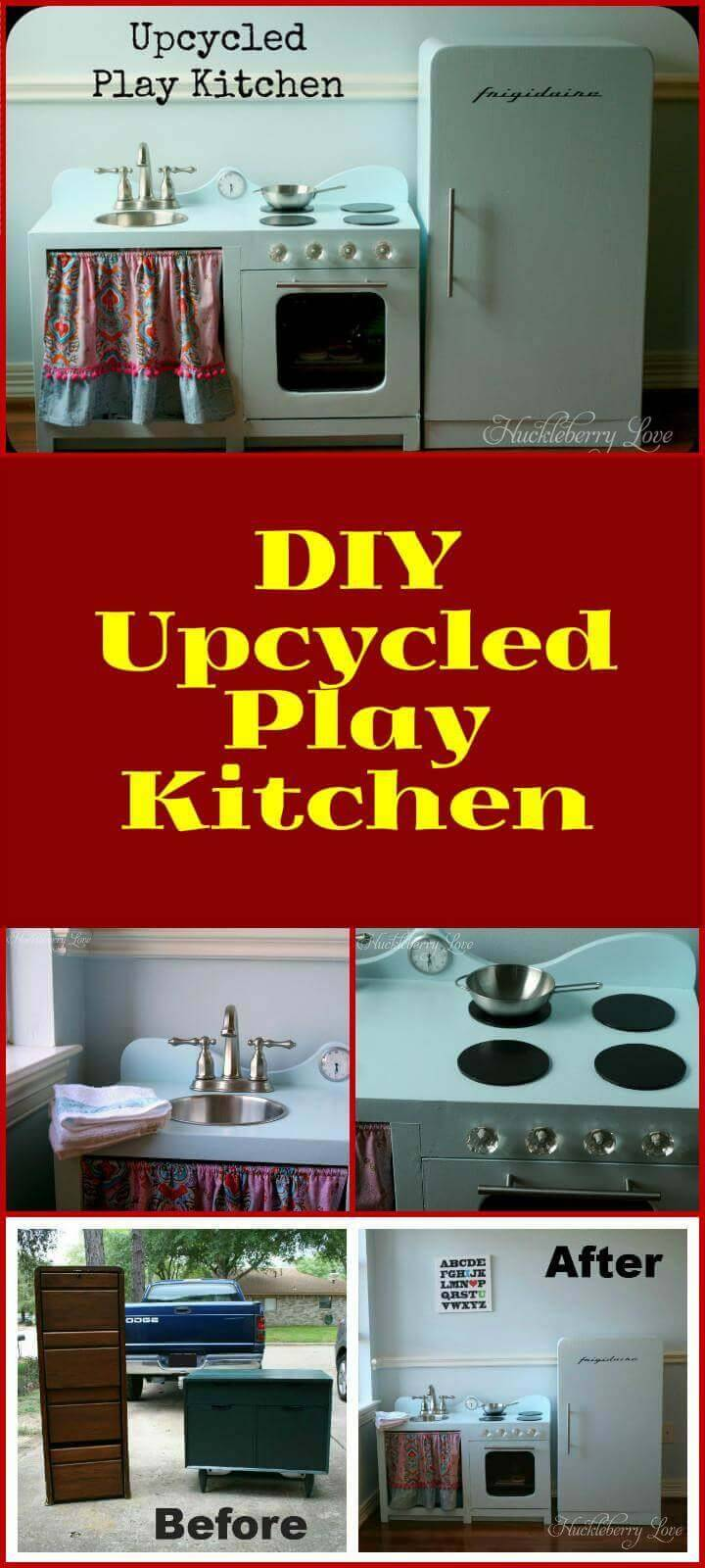 DIY upcycled kids play kitchen