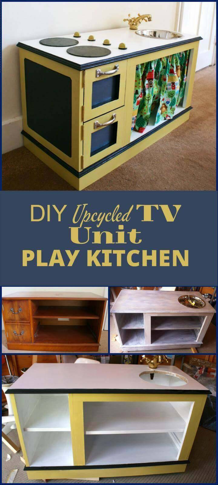 Recycled TV unit into Kids Play Kitchen
