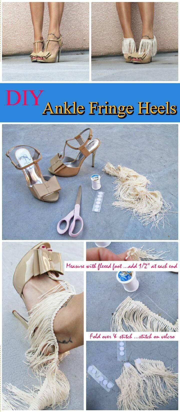 DIY Ankle Fringe Heels