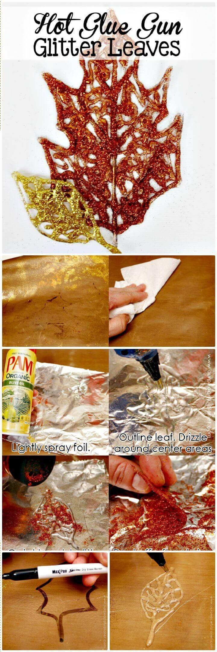 DIY Beautifully Sparkly Fall Leaf Decorations Out Of Hot Glue