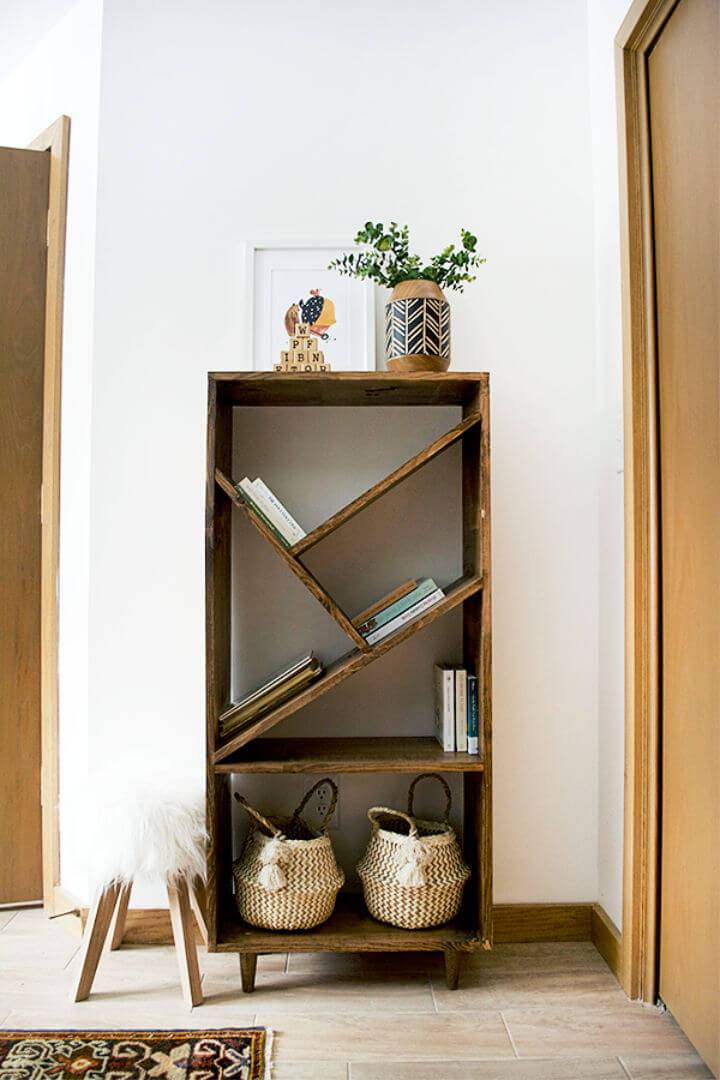 DIY Bookcase with Angled Shelves