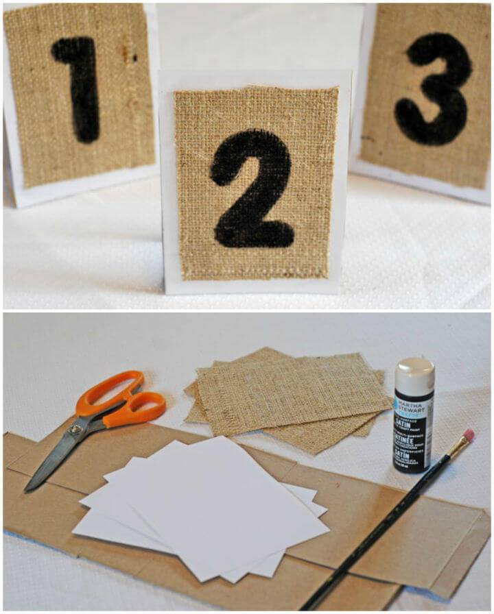 DIY Burlap Table Numbers with Cardboard Holder