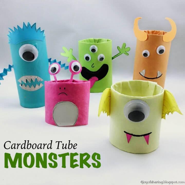DIY Cardboard Tube Monsters Craft