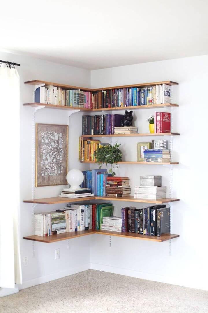 DIY Corner Bookshelves