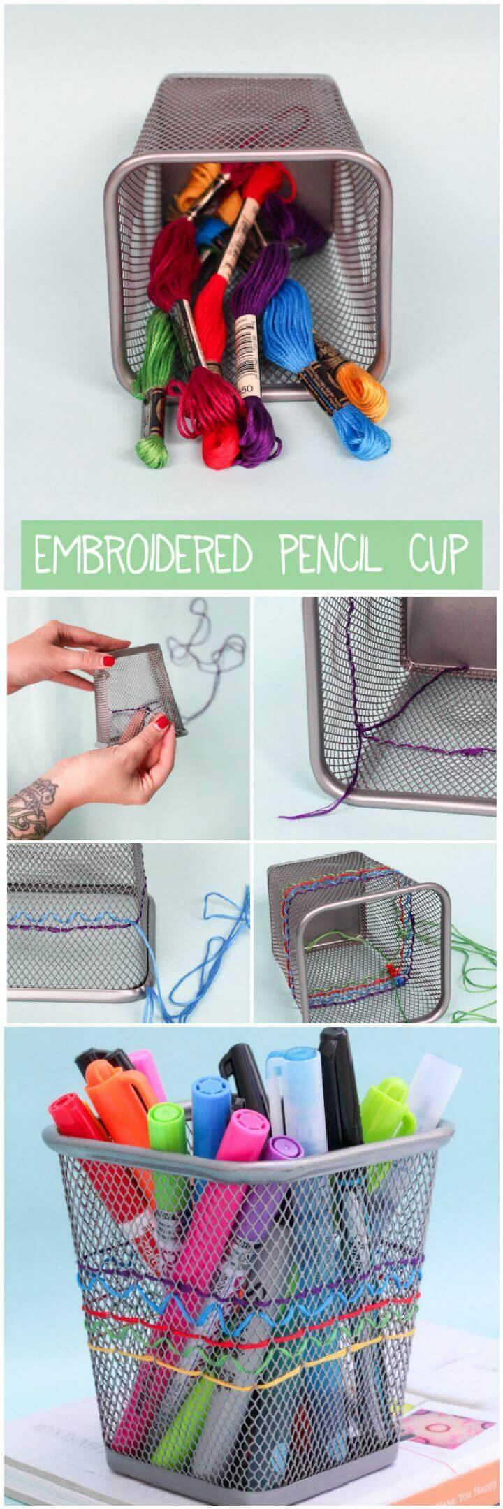 DIY Embroidered Pencil Cup