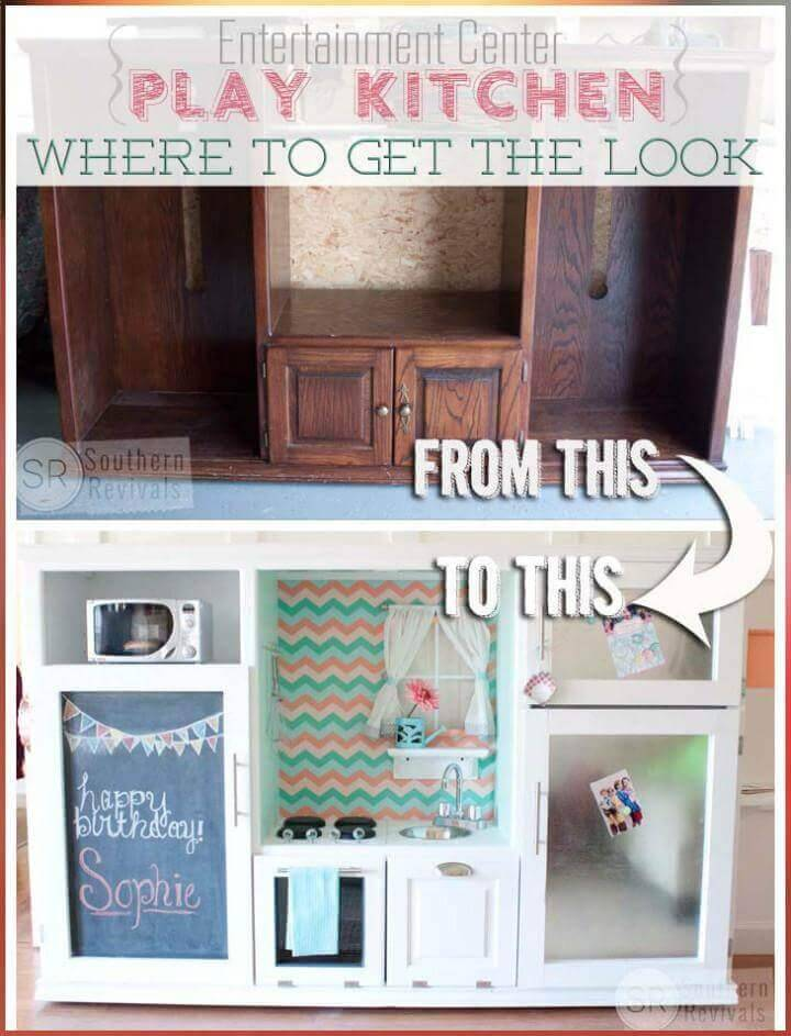 DIY entertainment center play kitchen