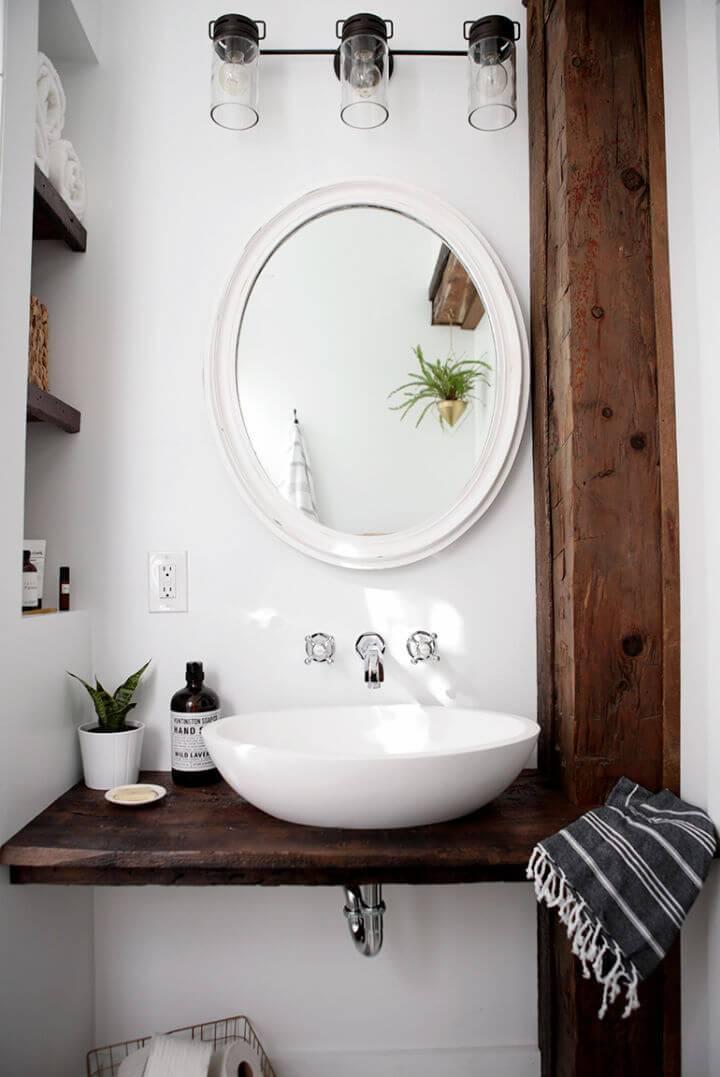 DIY Floating Shelf Bathroom Vanity