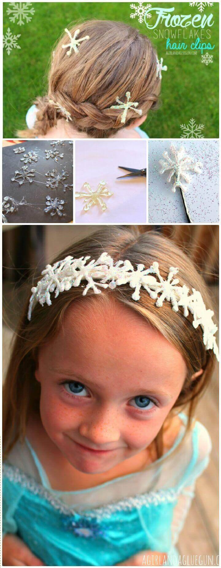 DIY Frozen Themed Snowflake Hair Clips