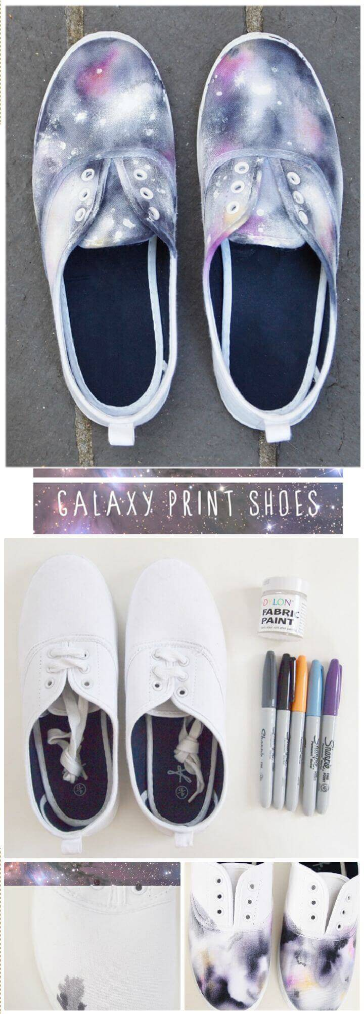 DIY Galaxy Printed Shoes