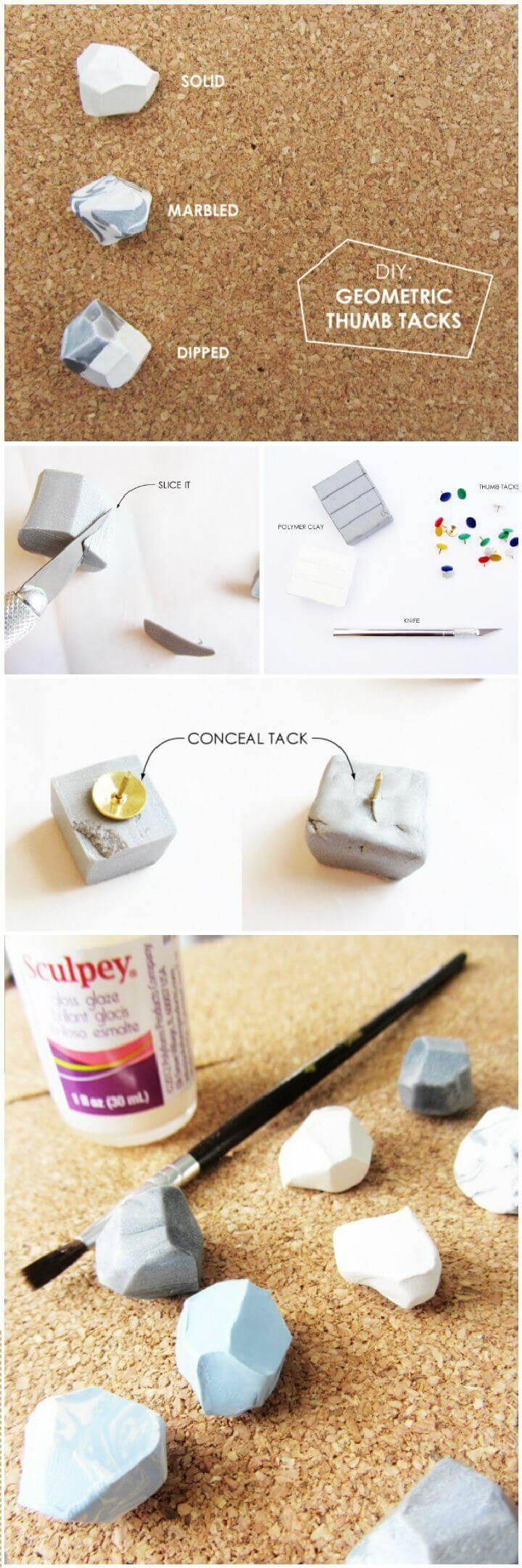 DIY Geometric Thumb Tacks
