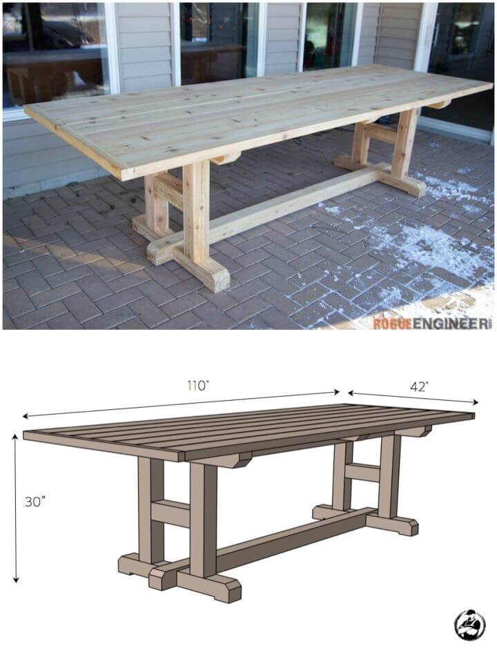 DIY H Leg Outdoor Dining Table