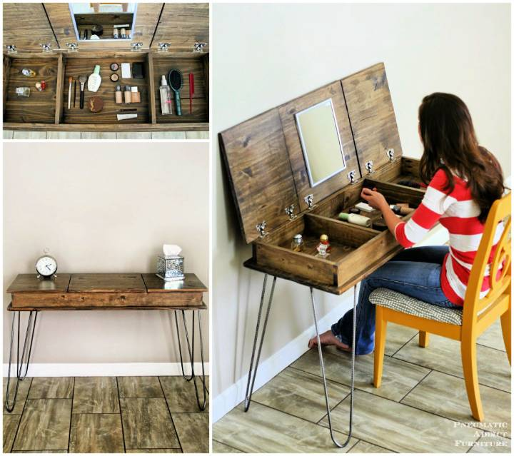 DIY hairpin makeup vanity building plans and giveaway