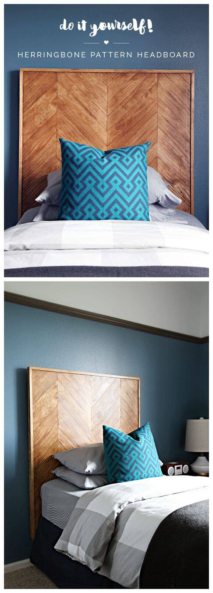 DIY Herringbone Headboards