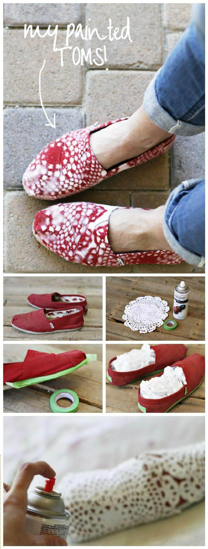 DIY Lace Patterned Toms